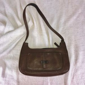 FOSSIL Brown Leather Shoulder Strap Baguette